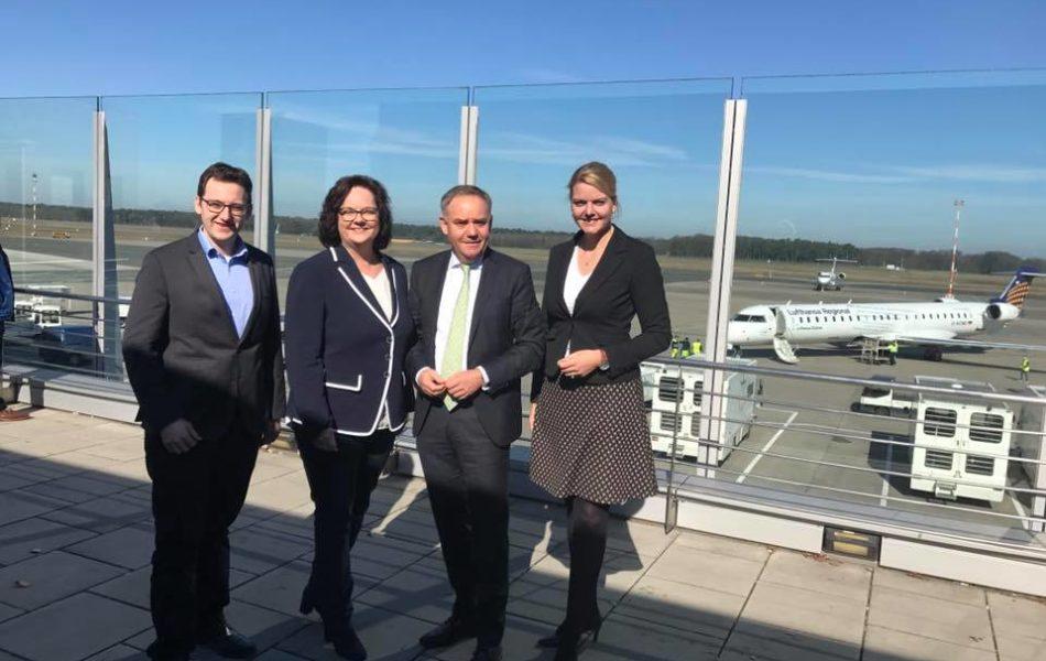 Kennenlern-Gespräch beim neuen Flughafenchef Prof. Dr. Rainer Schwarz am Flughafen Münster-Osnabrück