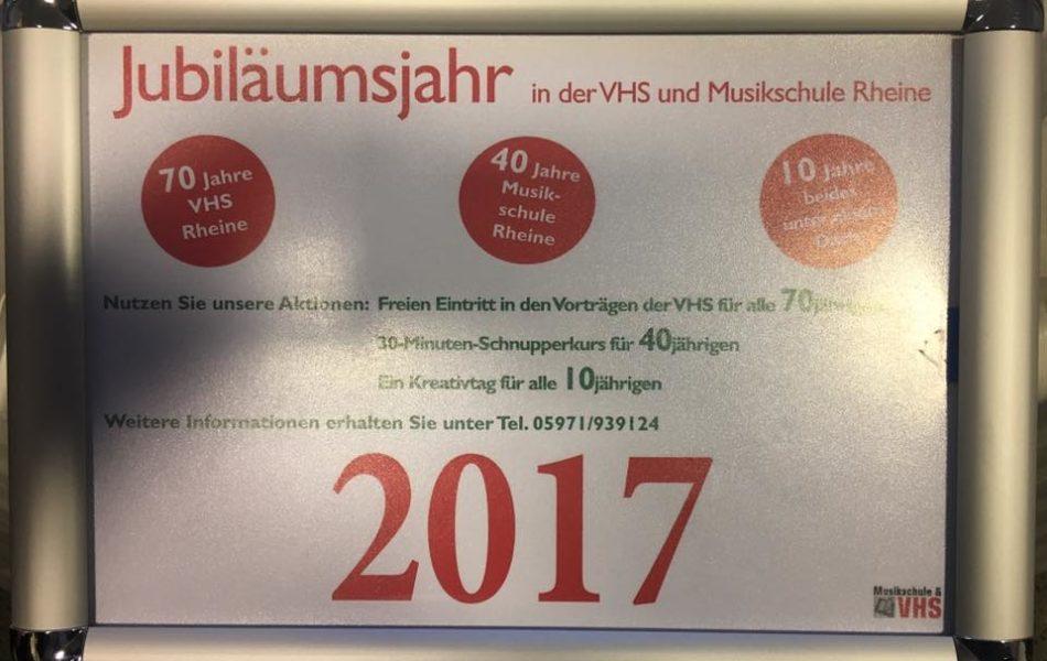 70 Jahre VHS, 40 Jahre Musikschule, 10 Jahre beide unter einem Dach in Rheine