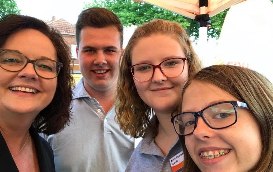 Infostand zur Bundestagswahl auf dem Emstorplatz in Rheine
