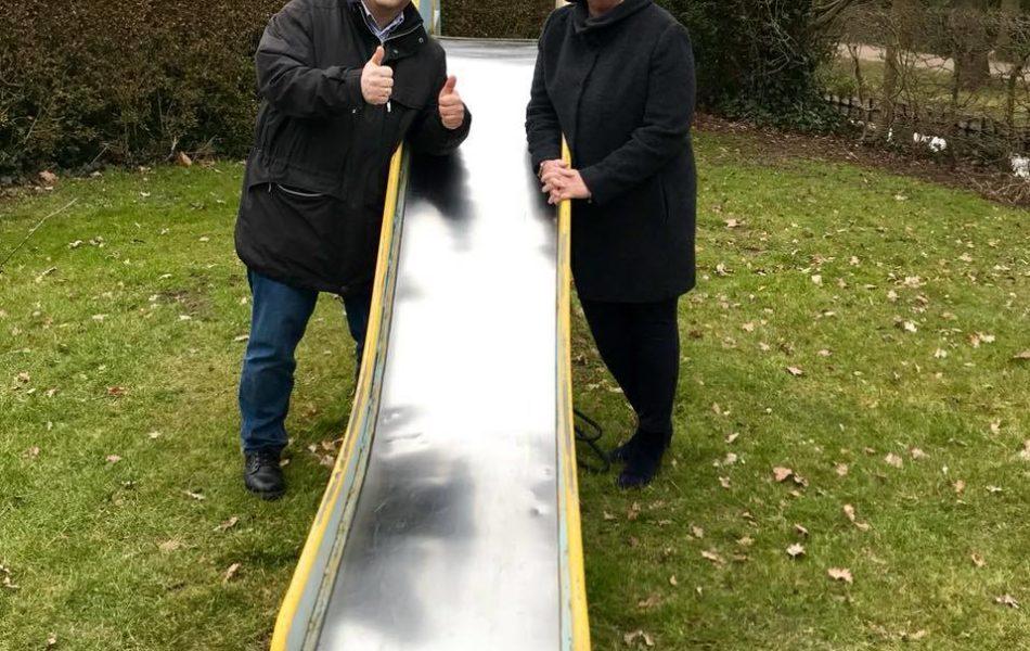 Gespräch mit Bevergerns Ortsvorsteher Thorsten Löchte am geplanten Mehr-Generationen-Spielplatz