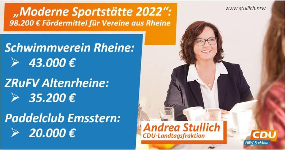 """Erneut profitieren Sportvereine aus Rheine vom NRW-Förderprogramm """"Moderne Sportstätte 2022"""""""